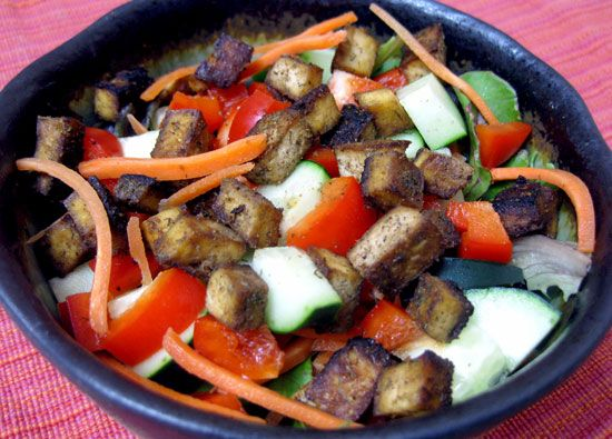 If you're a vegetarian or looking to add more protein to your diet without added cholesterol or saturated fat, tofu is a great option. It's pretty unappetizing on its own though, so here's a simple recipe for sweet and salty baked tofu. It makes a