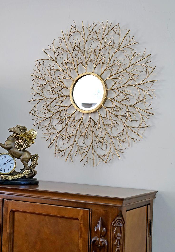 Декоративное зеркало «Garda Decor», винный кабинет «Черчель» и часы настольные «Пегас»