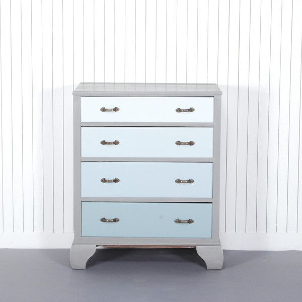 Baptiste - £250.00 - This classic chest of drawers has been finely crafted using solid timber and as a result has stood the test of time. A timeless ombre effect in duck egg blue is framed by deep grey, which emphasises the subtle change of colour. The newly polished original handles are set off against the cool blue backdrop of the drawer fronts. This chest of drawers provides an elegant storage solution that can continue to be enjoyed for generations to come.Product specification: W 72 x D…