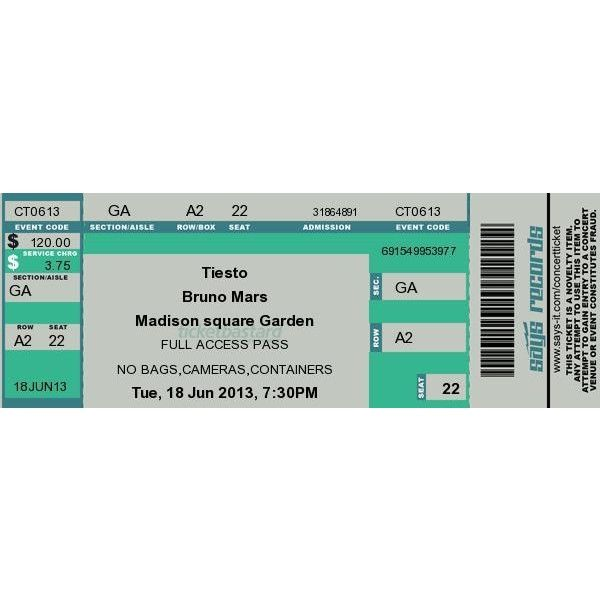 Concert Ticket Maker ❤ liked on Polyvore featuring home, kitchen & dining, fillers, other, concert tickets, music and random