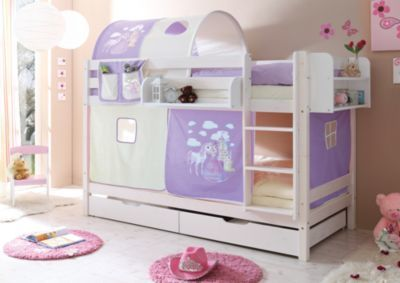 Etagenbett Massiv Weiss Kiefer 90x200 : Etagenbett marcel kiefer massiv weiß lackiert horse lila 90 x