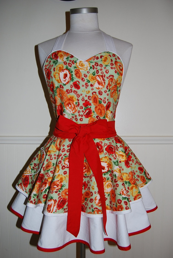 White apron etsy - Green Red And White Floral Apron With Heart Pocket And Piping Details By Crackerjack County