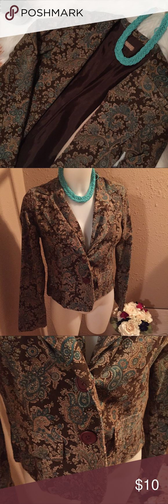 Twenty One Paisley Blazer. Brown and Teal Size M/L Swede paisley blazer. Super adorable. Perfect to dress up for work. Add a pair of brown slacks and a teal necklace. Does not have a size tag but it fits like a M/L on myself. I wear a small. Twenty One Jackets & Coats Blazers