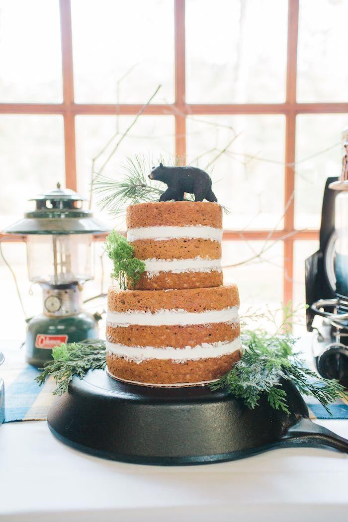 Cake from a Rustic Camping Birthday Party via Kara's Party Ideas | KarasPartyIdeas.com (45)