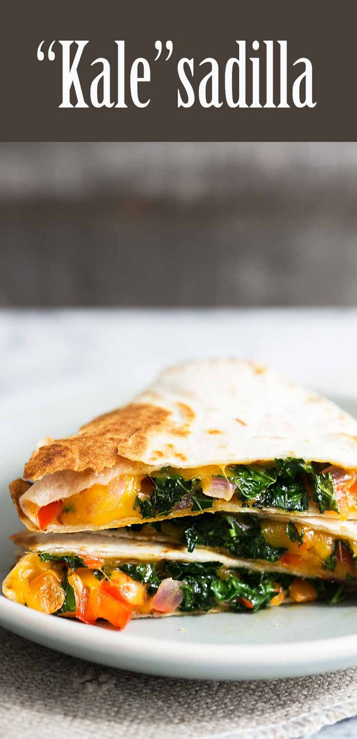 Kale Quesadilla! with finely shredded kale, red bell peppers, red onions, cumin, and cheddar cheese #quesadilla #kale