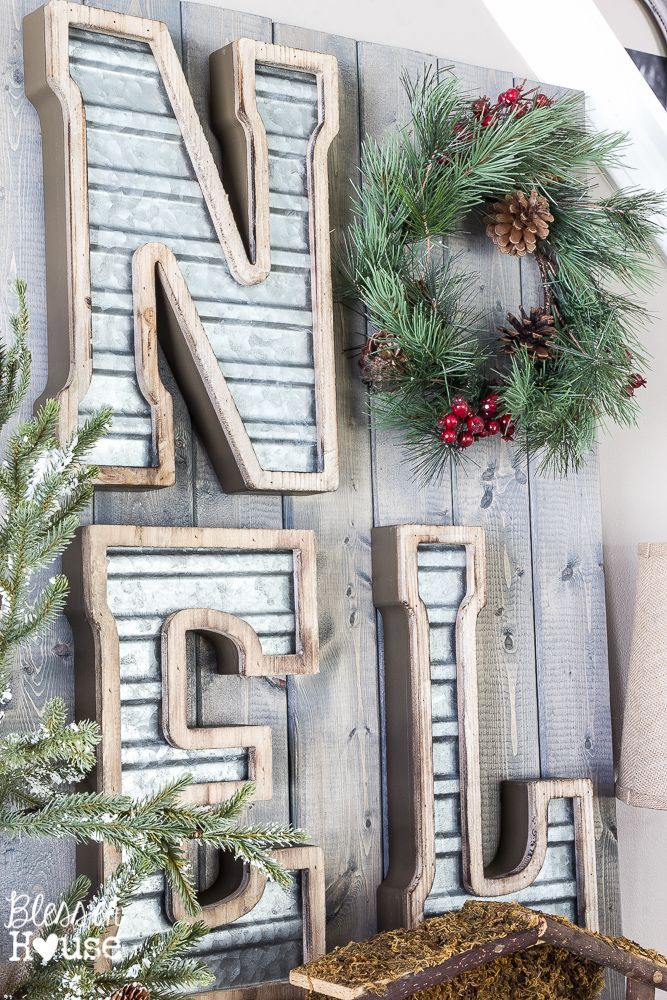 Woodland Christmas Home Tour 2015 Part 1 | blesserhouse.com | industrial farmhouse noel sign