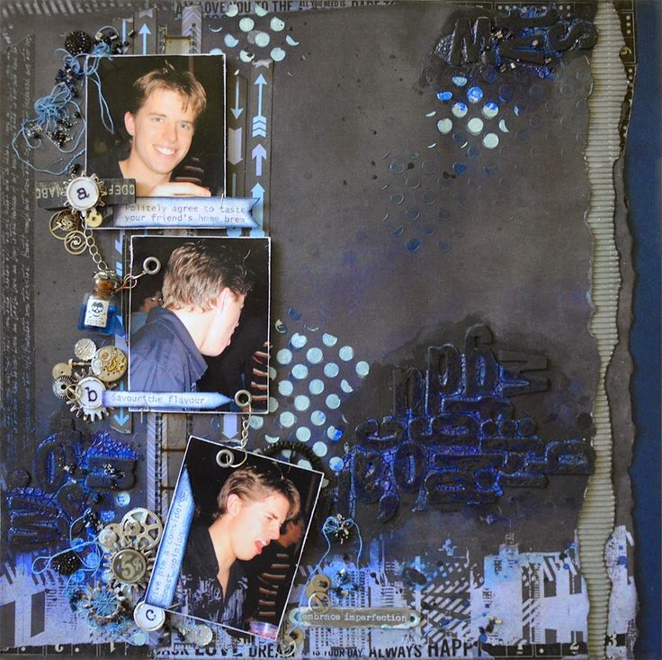 """Kaisercraft """"Off the Wall"""" (Grungy) Mixed Media Layout from Scrapbooking2Angels ~ Mixed Media."""
