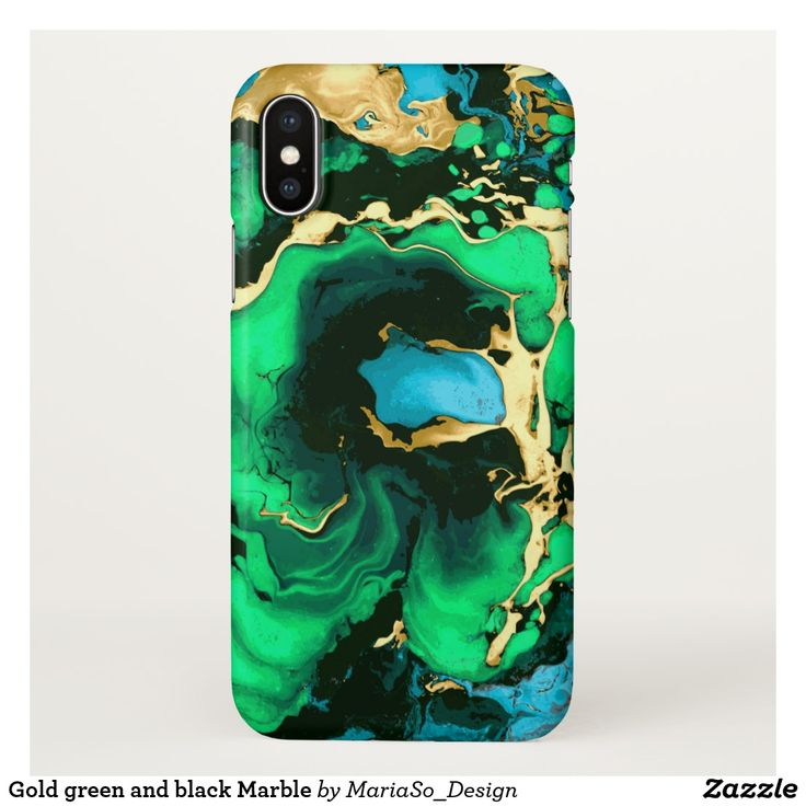 Gold green and black Marble iPhone X Case