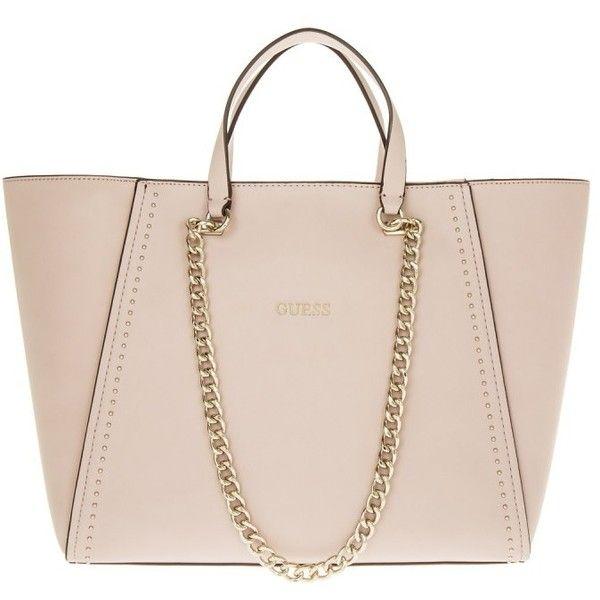 71d6541d79ef Guess Shoulder Bag - Nikki Chain Tote Blush - in rose - Shoulder Bag...  ( 115) ❤ liked on Polyvore featuring bags