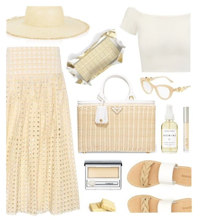 """White Chocolate"" by kiki-bi ❤ liked on Polyvore featuring Chloé, Alice + Olivia, Soludos, Prada, Dolce&Gabbana, G.Viteri, Herbivore, Clinique and Ilia"