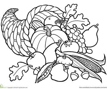 Celebrate the bounty of autumn's harvest gathered in a horn of plenty. (Good for: first grade)
