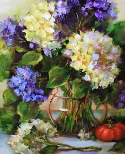 Love Song Hydrangeas by Texas Flower Artist Nancy Medina, painting by artist Nancy Medina