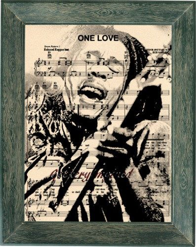 Bob Marley music sheet art, Bob Marley print, Bob Marley music, One Love, office decor, wall art, home decor, music art, Bob Marley qoute by GeekeryImagined on Etsy https://www.etsy.com/listing/266351325/bob-marley-music-sheet-art-bob-marley