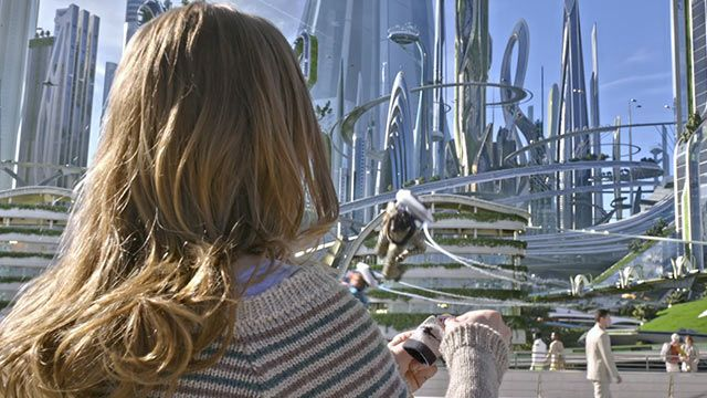 Casey played by Britt Robertson is transported to Tomorrowland with her magical pin. Click to watch the trailer and get more details about this sci-fi Disney hit.