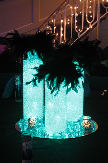 glass cylinder with insert centerpiece | Glass Cylinder with Aqua Gems & Lights Centerpiece Trimmed with ...