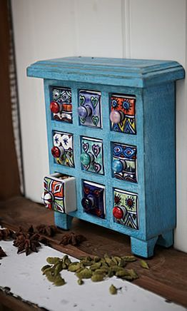 Spice Storage - Plümo Ltd - Washed-blue miniature chest of little ceramic drawers. Handmade and painted by skilled artisans.