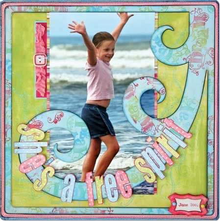 """Waves """"She's a Free Spirit"""" Page...with swirled trim & multi colored letter."""