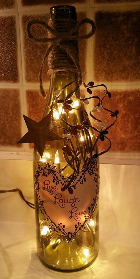 Live Laugh Love Wine Bottle Light by ViviansTresures on Etsy