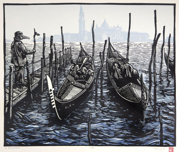La Maschera ~ Linocut, 17.25 x 14.25 inch ~ Rik Olson