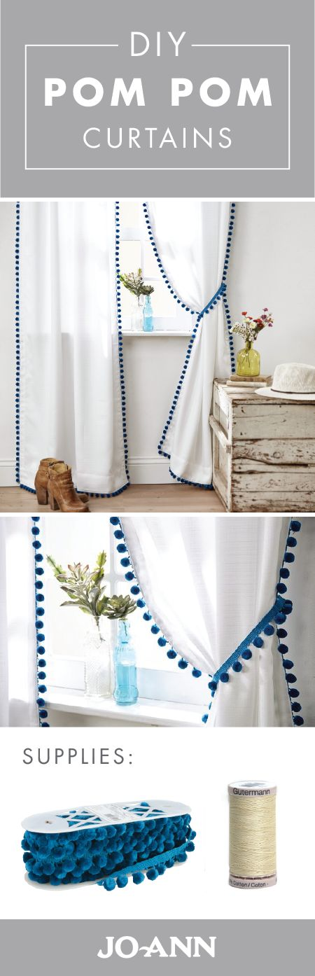 Looking to transform your plain, white curtains? Give them a style makeover thanks to pom pom trim from Jo-Ann! Grab your sewing machine to tackle this simple weekend project for DIY Pom Pom Curtains. #diy_curtains_for_girls_room