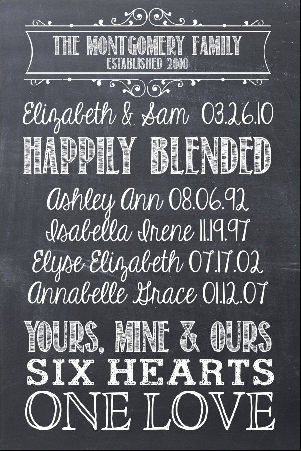 Idea for my sister and her family for Christmas. First We Had Each Other 16x24 Chalkboard Modern Design Gallery Wrapped Blended Family Canvas. $100.00, via Etsy.