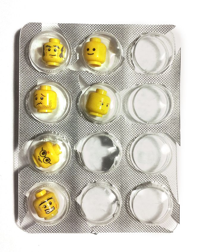 play pills LEGO packaging
