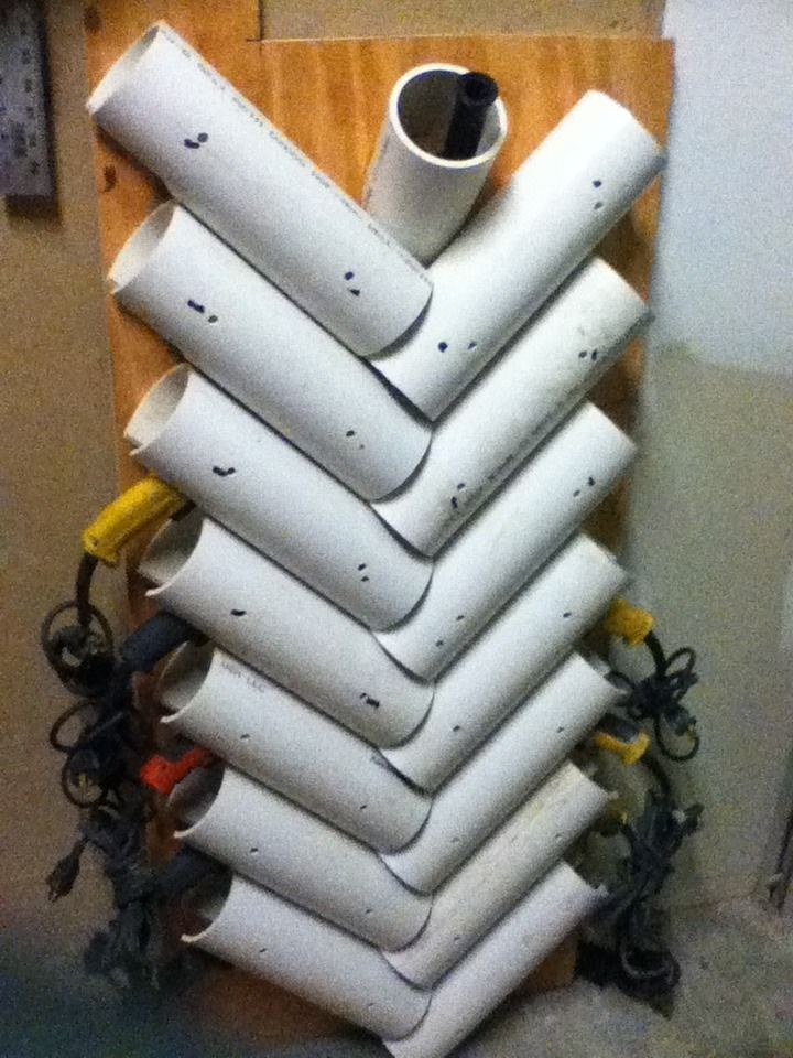 Power Tool Rack by SWV1787 -- Homemade power tool rack constructed from PVC pipe. http://www.homemadetools.net/homemade-power-tool-rack