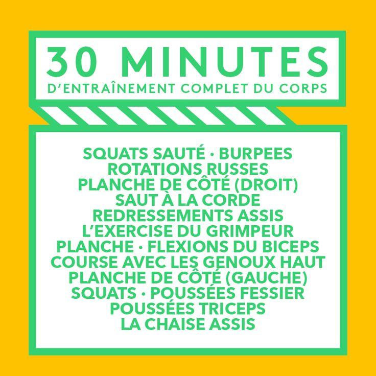 Mettez-vous au défi avec ces 30 minutes d'entraînement complet du corps. Faites chaque exercise pendant une minute puis passer au prochain. Quand vous arrivez à la fin, reprenez au début, jusqu'à ce que les 30 minutes soient écoulées. Partagez avec vos amis ! #WorkoutWednesday #StayAmazing