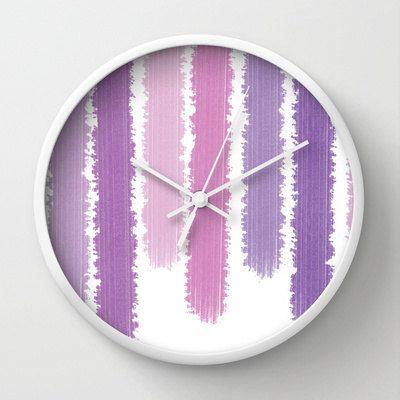 Purple Stripes  Wall Clock  Purple Clock  by ShelleysCrochetOle