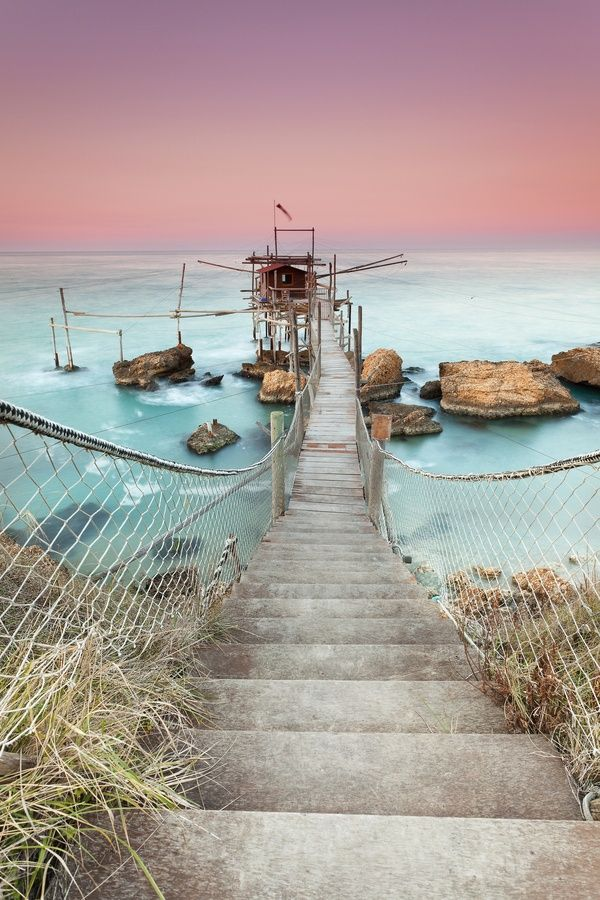 The soft colors of Trabocco Punta Torre, Italy.
