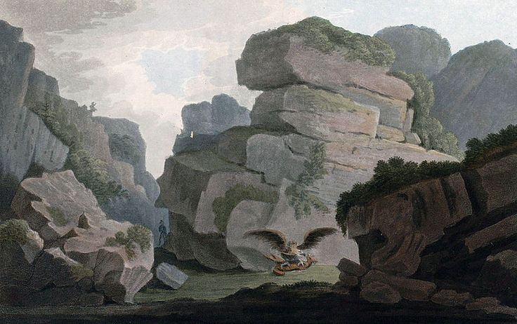 """Heliesund, a Pass between the Rocks (JW Edy plate 07). English: """"Heliesund, a Pass between the Rocks"""" Norsk bokmål: «Et indløb mellom klipperne i Heliesund» Drawing by John William Edy (1760-1820) from his journey along the coast of Norway during the summer of 1800. Published in Boydell's picturesque scenery of Norway in 1820."""