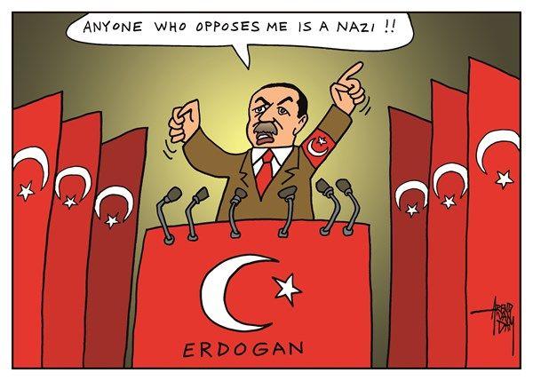 3/13/17 Arend Van Dam - politicalcartoons.com - dictator Erdogan - English - Erdogan, Turkey, Nazi, Nazism, Nazis