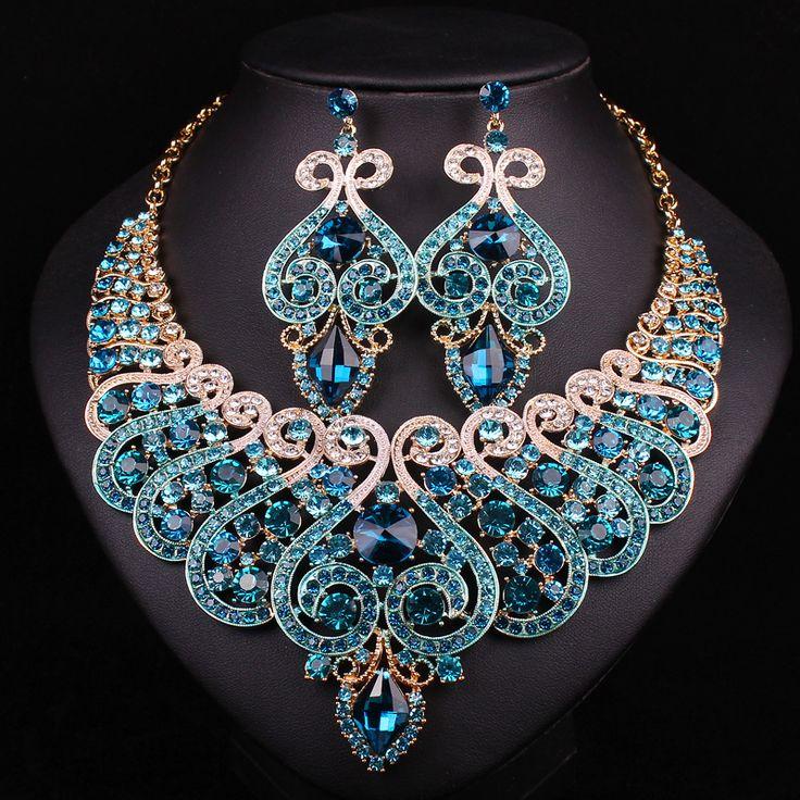Nuevos Sistemas de La Joyería Nupcial de La Boda Accesorios de Cristal Plateado del Oro Collar Pendiente Para la Fiesta de Las Novias Indias Decoración Regalo de Las Mujeres