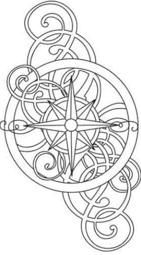 Disegno per tatuaggio stella polare o rosa dei venti