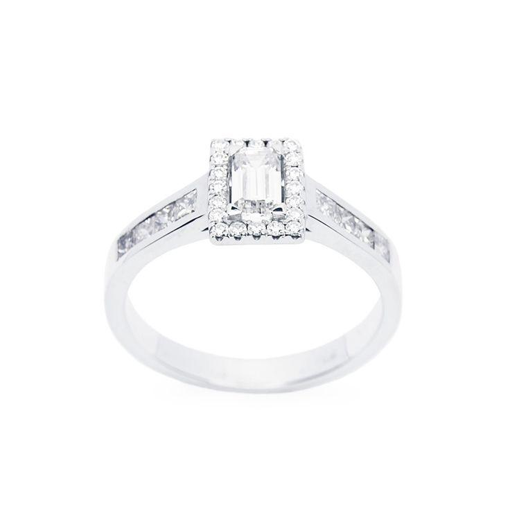 Baguette gyémánt eljegyzési gyűrű - White gold engagement ring set with baguette cut diamond