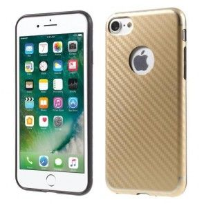 Husa iPhone 7, Protectie Spate si Laterale, Silicon, Gold