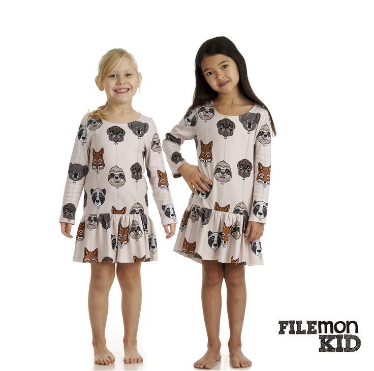 Dress AOP Balloon Animals 100% organic cotton, GOTS certified Size 80/86-128/134