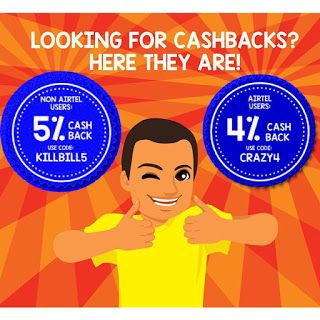 Get 5% cashback on non-airtel recharge/ bill payment & 4% cashback on airtel recharge/ bill payment