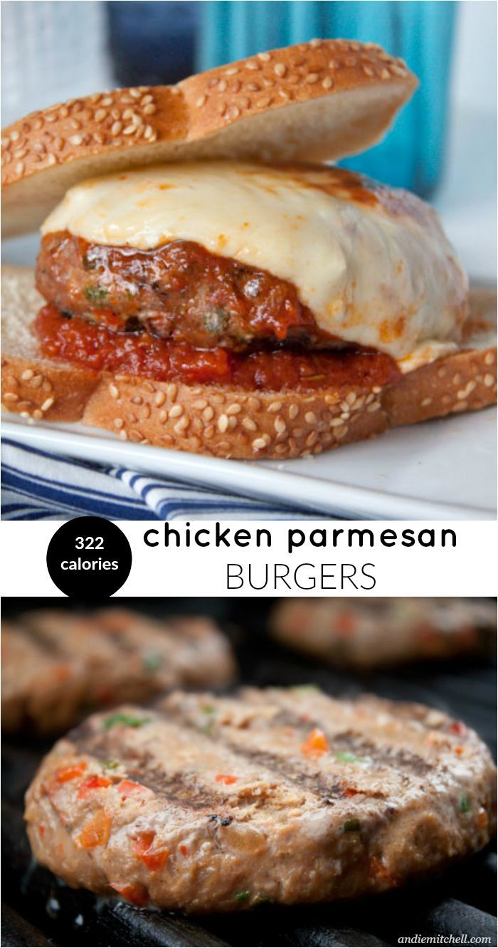 Chicken Parmesan Burgers! This light and healthy recipe satisfies your chicken parm craving AND your burger craving for only 322 calories! Made with lean ground chicken, your favorite marinara sauce, and mozzarella cheese--they come together in no time.
