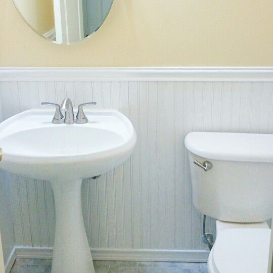 Bead board gor a fresh look in powder room