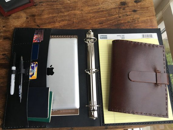 Keen Binder / Black Leather 3 Ring Binders / por LUSCIOUSLEATHERNYC
