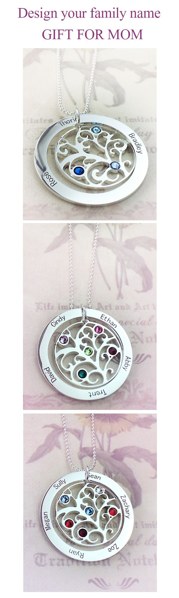 Create the perfect gift for Mom for Mother's Day, her birthday or any special occasion! Personalize this family tree necklace with your choice of name and birthstones.You love your family just from getnamenecklace.com
