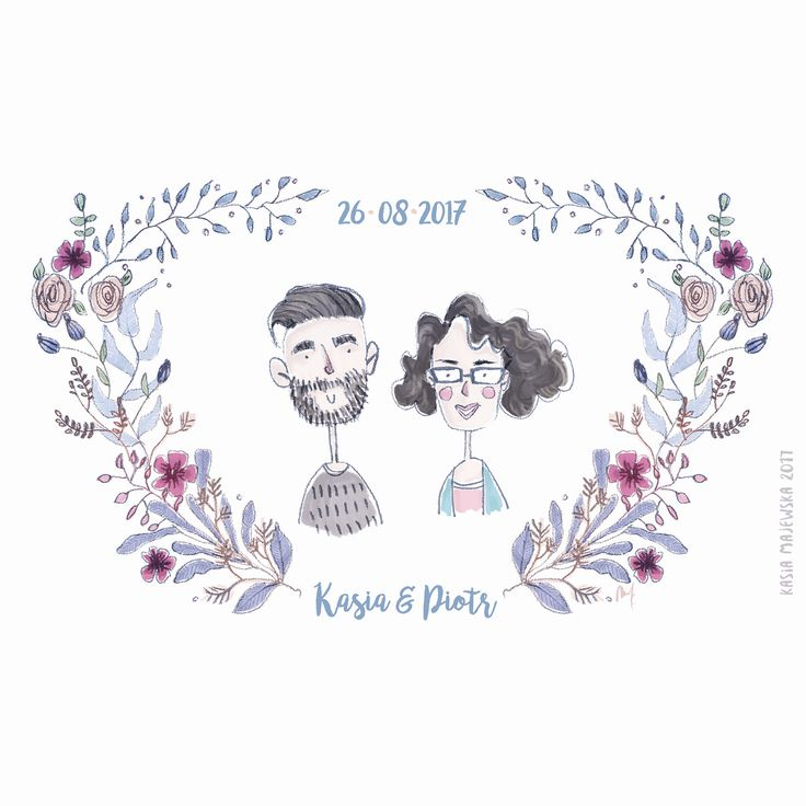 Custom wedding illustration for sweet couple:)