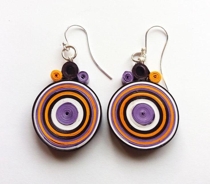 Paper Earrings, Quilling Jewelry, Paper Jewelry, Purple Orange White Earrings…