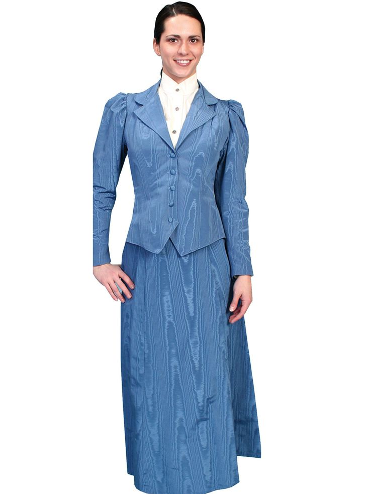Victorian Costume Dresses & Skirts for Sale Five Gore Walking Skirt in Blue $105.00 AT vintagedancer.com