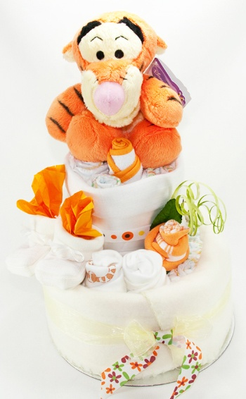Baby Shower Nappy Cake - 2 Tier with Disney Toy.