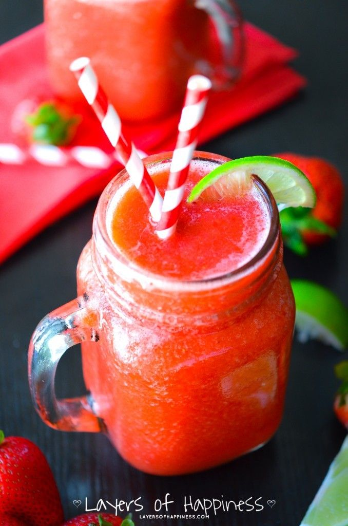 Sweet, sour, ice cold frozen limeades flavored with fresh strawberries and sprite.