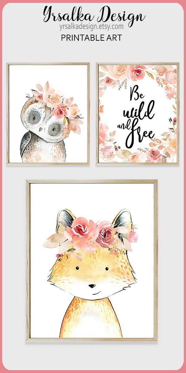 Woodland Nursery Art Floral Boho Animals Printable Art Pink
