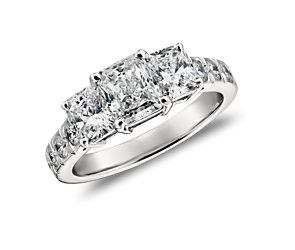 Three Stone Radiant Pavé Ring in Platinum (2.5 ct. tw.)   AAAAAAAAAAAAHHHHHHHHHHHH
