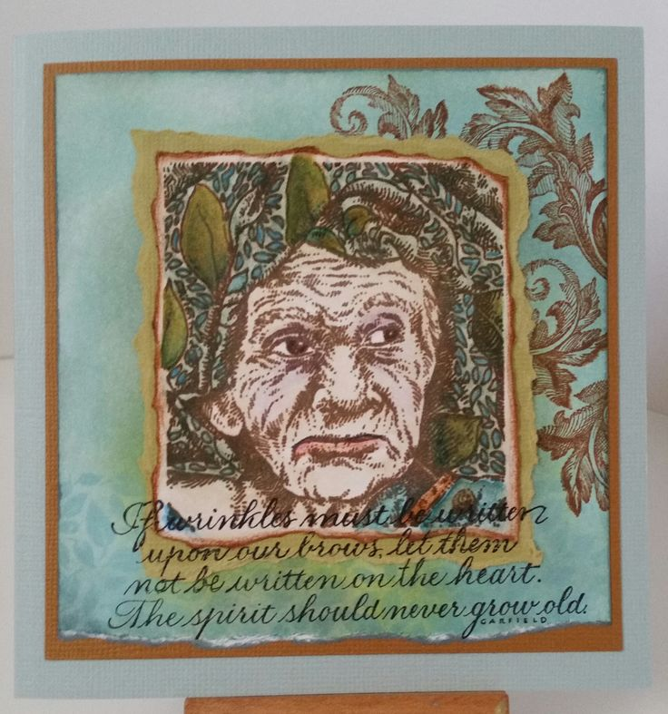 Old Woman M2-947 by Stamper's Anonymous; If Wrinkles S043-K by Wordsworth; Acanthus D-3164 by PSX; Leaf Pattern 4660E by Stamp-It. Card by Susan of Art Attic Studio